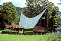 T3593. Batak house. Tomok. Lake Toba. Sumatra. Indonesia. 1992.