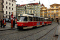 FDG1710.Tram 7096. Malostranski  Namesti. Prague. Czech Republic. 28.12.04.