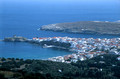 T14265. Looking down onto the town. Andros. Cyclades. Greece. 25.9.02