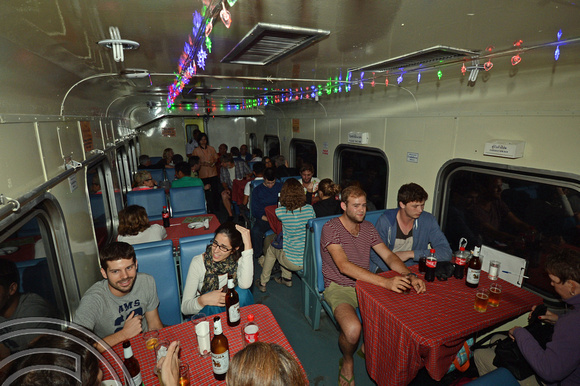 DG132283. Party in the restaurant car on train No1. Thailand. 28.11.12.