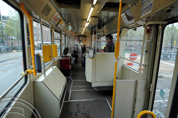 FDG06880. Tram Interior. Amsterdam. Holland. 29.4.08.