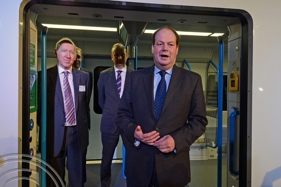 DG169165. Stephen Hammond MP. Thameslink Desiro unveiling. London. 28.1.14.