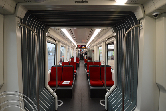 DG195771. Vossloh tram-train interior. Innotrans. Berlin. Germany. 26.9.14.